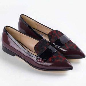 Boden purple patent leather calf hair fur loafers